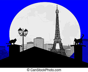 Fairy night in Paris - Fairy night background in Paris with...