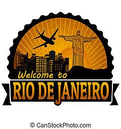 Rio de Janeiro travel label or stamp
