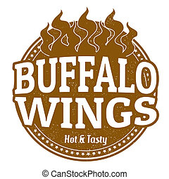 Buffalo Wings stamp - Buffalo Wings grunge rubber stamp on...