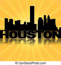 Houston skyline reflected with sunburst illustration
