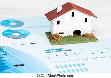 Real estate industry analysis. - Close up of statistical...