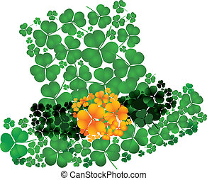 Leprechaun´s hat of a composition consisting of clovers