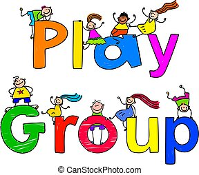 play group - group of happy and diverse kids climbing over...
