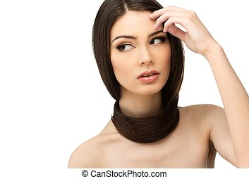 Beautiful young girl with long hair around her neck