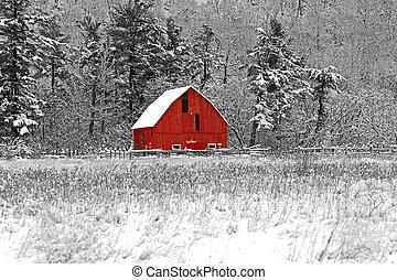 Red Barn 41 - Winter barn scene at Gatineau Park black white...