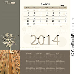 2014 calendar, monthly calendar template for March. Vector...