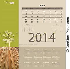 2014 calendar, monthly calendar template for April. Vector...