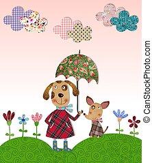 dogs walking on flowering meadow