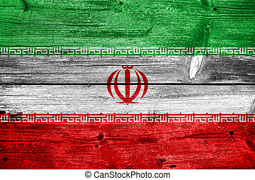 Iran Flag painted on old wood plank texture