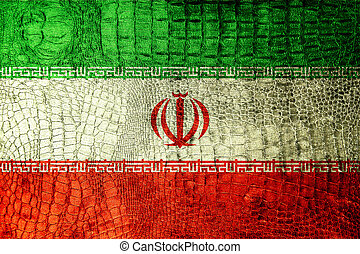 Iran Flag painted on luxury crocodile texture