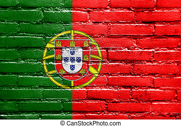 PORTUGAL, bandeira, pintado, tijolo, parede