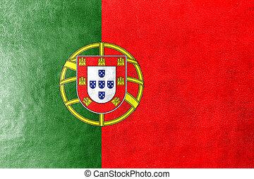 PORTUGAL, bandeira, pintado, couro, textura