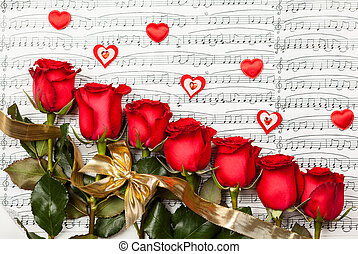 Red roses over background with musical notes for Valentine's...