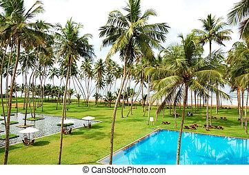 The swimming pool and beach of luxury hotel, Bentota, Sri Lanka