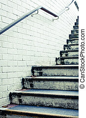 Concrete steps - Stone steps and white wall in muted tones