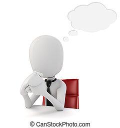3d man businessman sitting at a desk, on white background