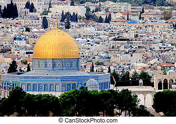 Dome of the Rock. Jerusalem, Israel - Landscape from Mount...
