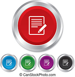 Edit document sign icon Edit content button Round metallic...