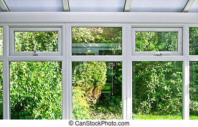 Conservatory - Modern home conservatory windows with garden...
