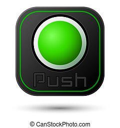 Push button isolated on white. Vector design