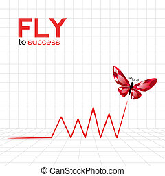 Success graphic with ruby butterfly Vector Illustration
