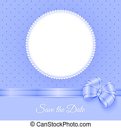 Photoframe with beads and bow - Save the Date. Card template...