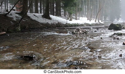 Little mountain river running through an winter landscape...