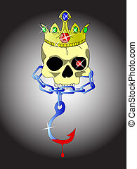 skull of king - skull with crown and chain with bloody hook
