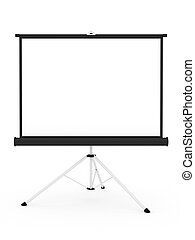 Projector screen on tripod isolated on white background....