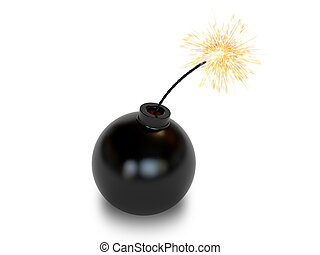 Bomb in old style with a burning wick on white background....
