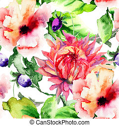 Seamless wallpaper with Stylized flower, watercolor...
