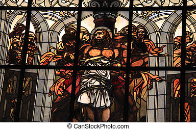Stained-glass window at Church of the Flagellation and the...