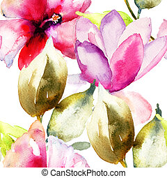 Colorful pink flowers, watercolor illustration, seamless...