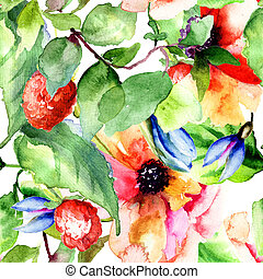 Seamless pattern with Raspberry and flowers, watercolor...