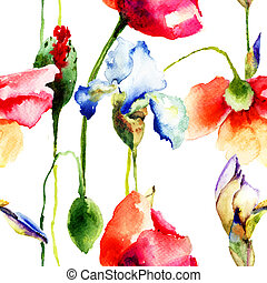 Seamless wallpaper with Iris and Poppy flowers, watercolor...