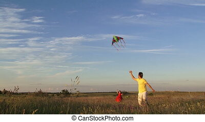 Flying a kite. Slow motion