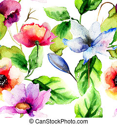 Original watercolor illustration with flowers, seamless...