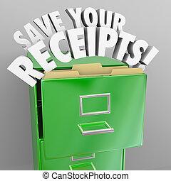 excepto, su, recibos, archivo, gabinete, impuesto,...