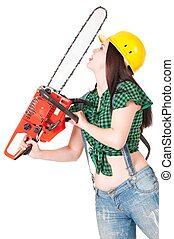 Crazy woman with gasoline-powered chainsaw isolated on white...