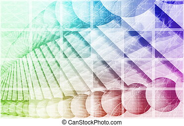 Science Engineering Abstract with Atomic Helix Art