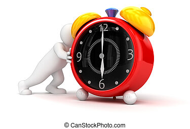 person pushes alarm clock Business concept Image with...