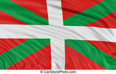 3D Basque Country flag with fabric surface texture. White...