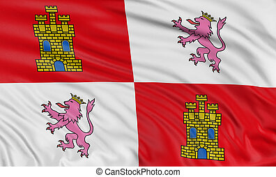 3D Castile and Leon flag with fabric surface texture. White...