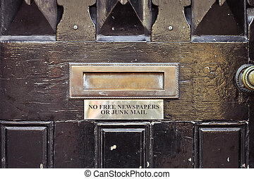 Letterbox - Antique letterbox with sign requesting no free...