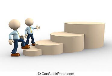 Businessman - 3d people - man, person and a stairs