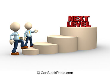 Next level - 3d people - man, person climbs the ladder of...