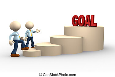 Goal - 3d people - man, person climbs the ladder of goal