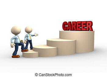 Career - 3d people - man, person climbs the ladder of career...