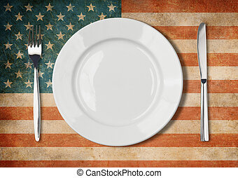 Plate, fork and kinife one grunge USA flag
