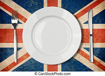 Plate, fork and kinife one grunge UK flag